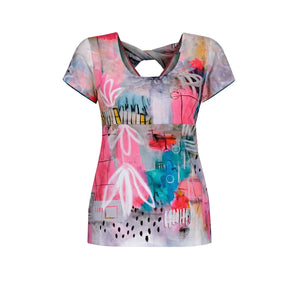 Dolcezza Abstract T-Shirt - 20671 - Pink/Turquoise