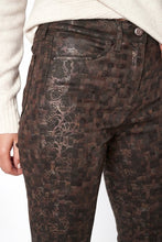 Toni Chocolate Brown Jeans with Shimmer Print