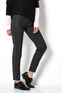 Toni Black Coated Jeans with Side Detailing
