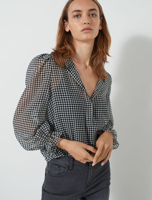 Marella Dogtooth Georgette Blouse - Trivio