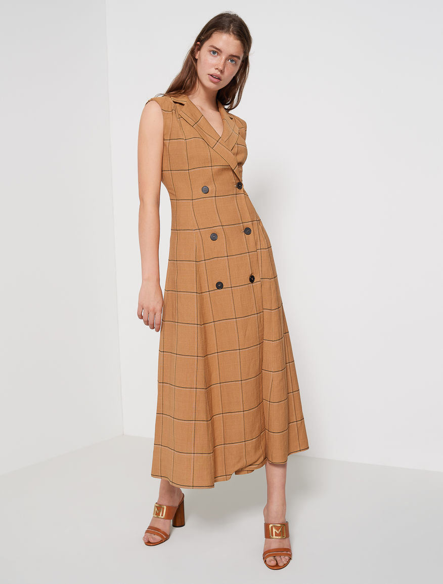 Marella Check Dress Sorba Tan