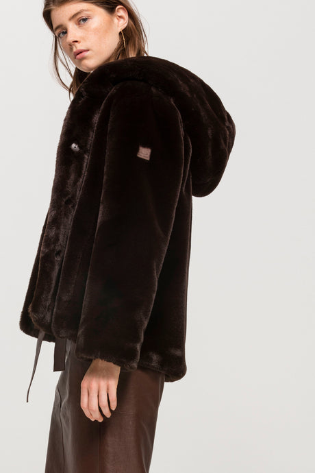 Luisa Cerano Chcocolate Faux Fur Hooded Coat