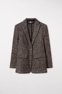 Luisa Cerano Chocolate & Off White Herringbone Wool Jacket