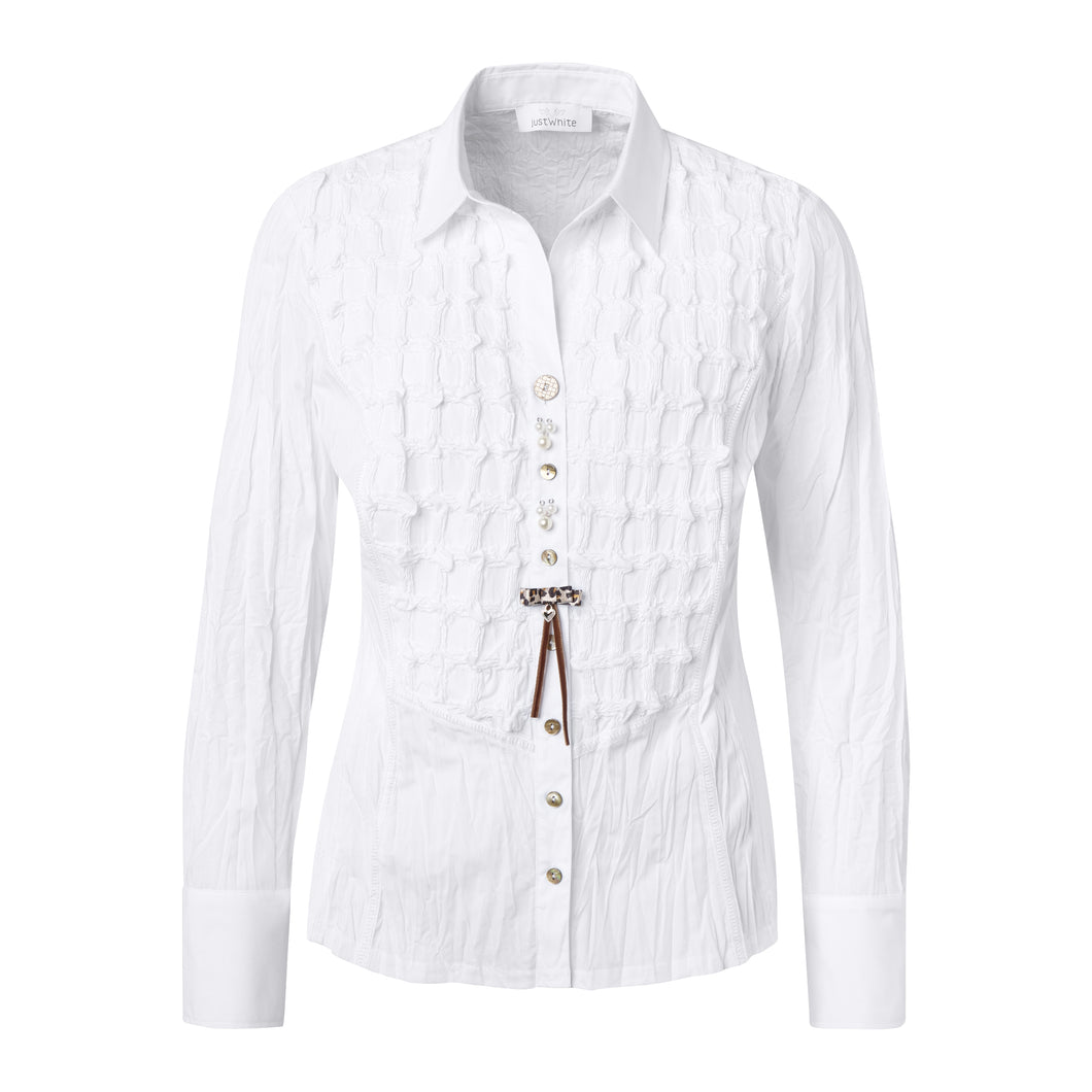 SE Just White Embroidered Crinkle Shirt