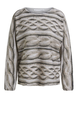 Oui Cable Knit Print Sweater 69648