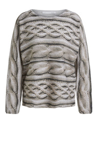 Oui Cable Knit Print Sweater