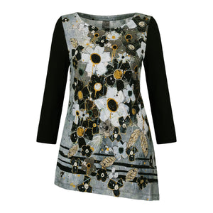 Dolcezza Simply Art Floral Asymmetric Tunic