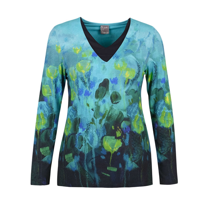 Dolcezza Simply Art Abstract Floral Long Sleeve Top