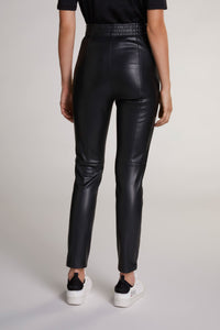 Oui Black Pleather Leggings