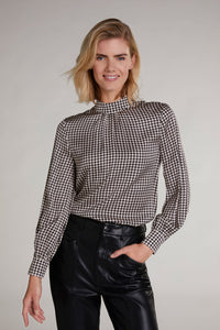 Oui Black & Cream Dogtooth Silky Blouse