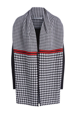 Oui Black & White Houndstooth Cardigan