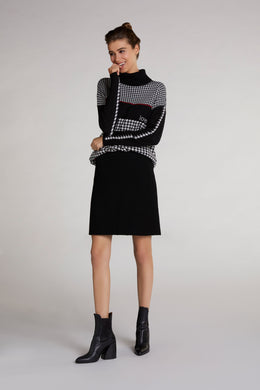 Oui Black & Cream High Neck Houndstooth Sweater