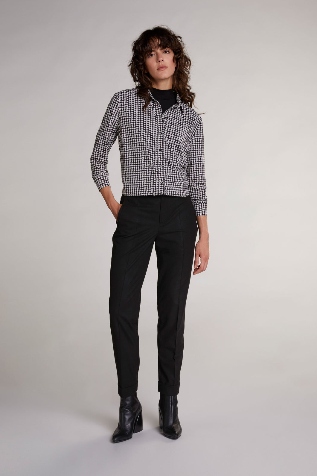 Oui Black & Cream Dogstooth Shirt