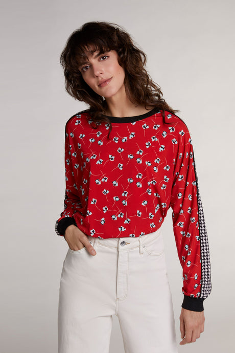 Oui Red Floral Print Jersey Top