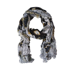 Dolcezza Simply Art Grey & Mustard Crinkle Scarf