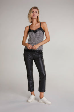 Oui Black & White Houndstooth Camisole