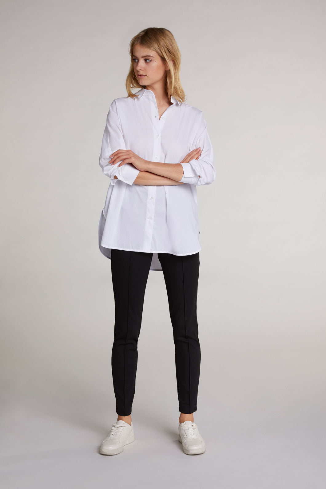 Oui Black Trousers with Seam Front