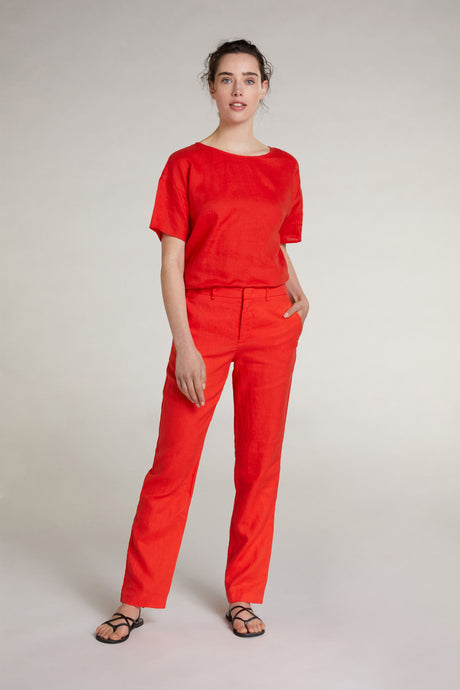 Oui Orange Linen Trousers