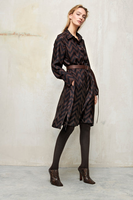 Luisa Cerano Chocolate & Black Herringbone Dress