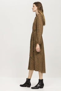 Luisa Cerano Tobacco and Gold Dot Dress