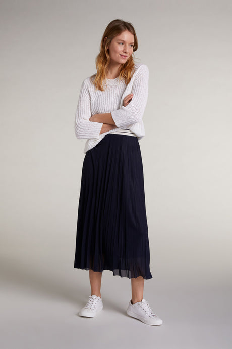 Oui Navy Pleated Skirt
