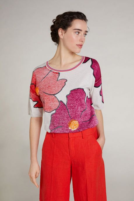 Oui Knitted Flower Print Top