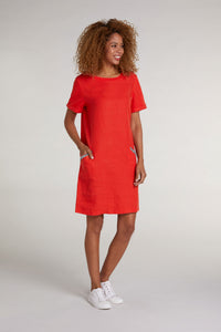 Oui Orange Linen Dress