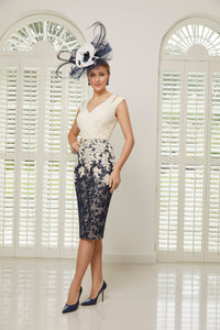 Veni Infantino Ivory & Navy Lace Dress