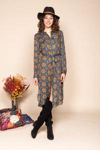 Derhy Emerald and Blue Geo Floral Shirt Dress