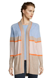 Betty Barclay Long Cardigan - 5052/1171 - Camel/Rose