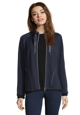 Betty Barclay Jersey Zip Up Top - Navy - 4007/1116