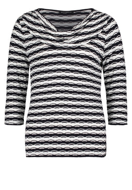 Betty Barclay Stripe Top - 2062/1311 - Navy/White