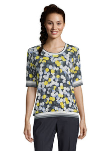 Betty Barclay Spot T-Shirt - 2065/1313 - Yellow/Blue