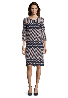 Betty Barclay Zig Zag Dress - 1011/1255 - Pink/Navy