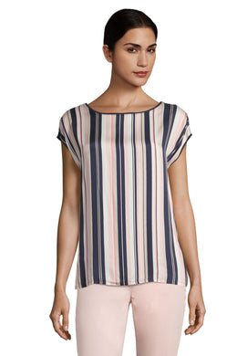 Betty Barclay Stripe T-Shirt - 2057/1307 - Navy/Beige/Coral