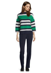 Betty Barclay Stripe Sweater - Navy/Green - 2029/1115 - SS20