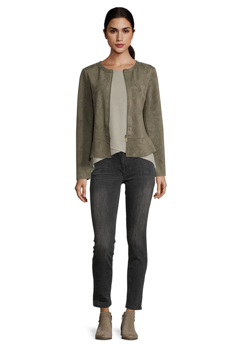 Betty Barclay Khaki Faux Suede Jacket