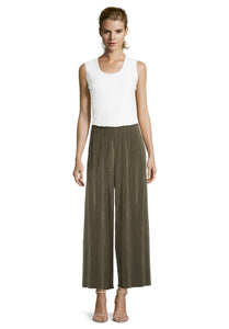 Betty Barclay Khaki Plisse Pull On Trousers
