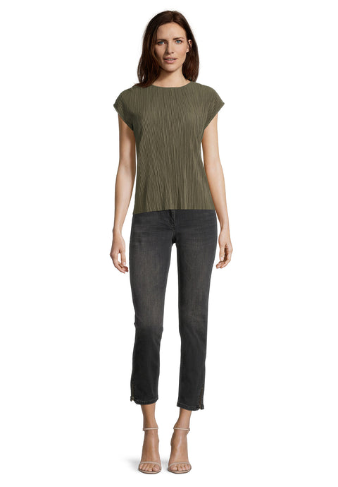 Betty Barclay Khaki Plisse Top