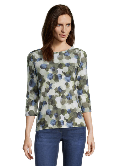 Betty Barclay Blue & Khaki Abstract Spot Top