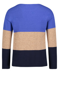 Betty Barclay Royal Blue & Camel Colour Block Sweater