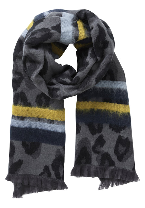 Betty Barclay Grey & Blue Animal Print Scarf