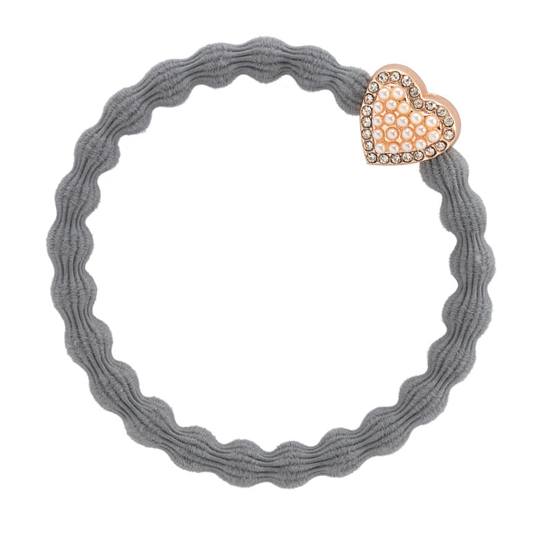 ByEloise Storm Grey Hairband with Pearl & Bling Heart