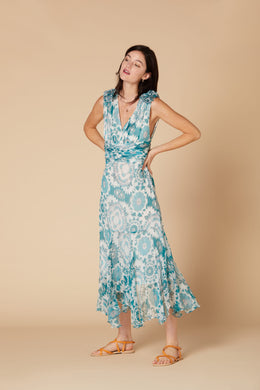 Derhy Long Dress - Cahier - Turquoise/White - SS20