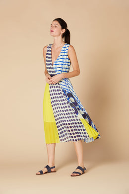 Derhy Mock Wrap Dress - Calvi - Blue/Yellow - SS20