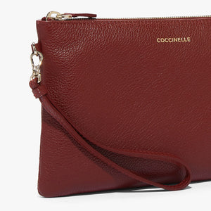 Coccinelle Leather Foliage Red Medium Soft Pouch Bag