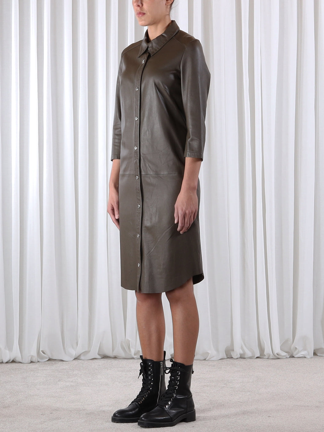 Rino & Pelle Leather Shirt Dress