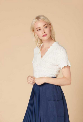 Derhy Knitted Lace Top - Francfort - White - SS20