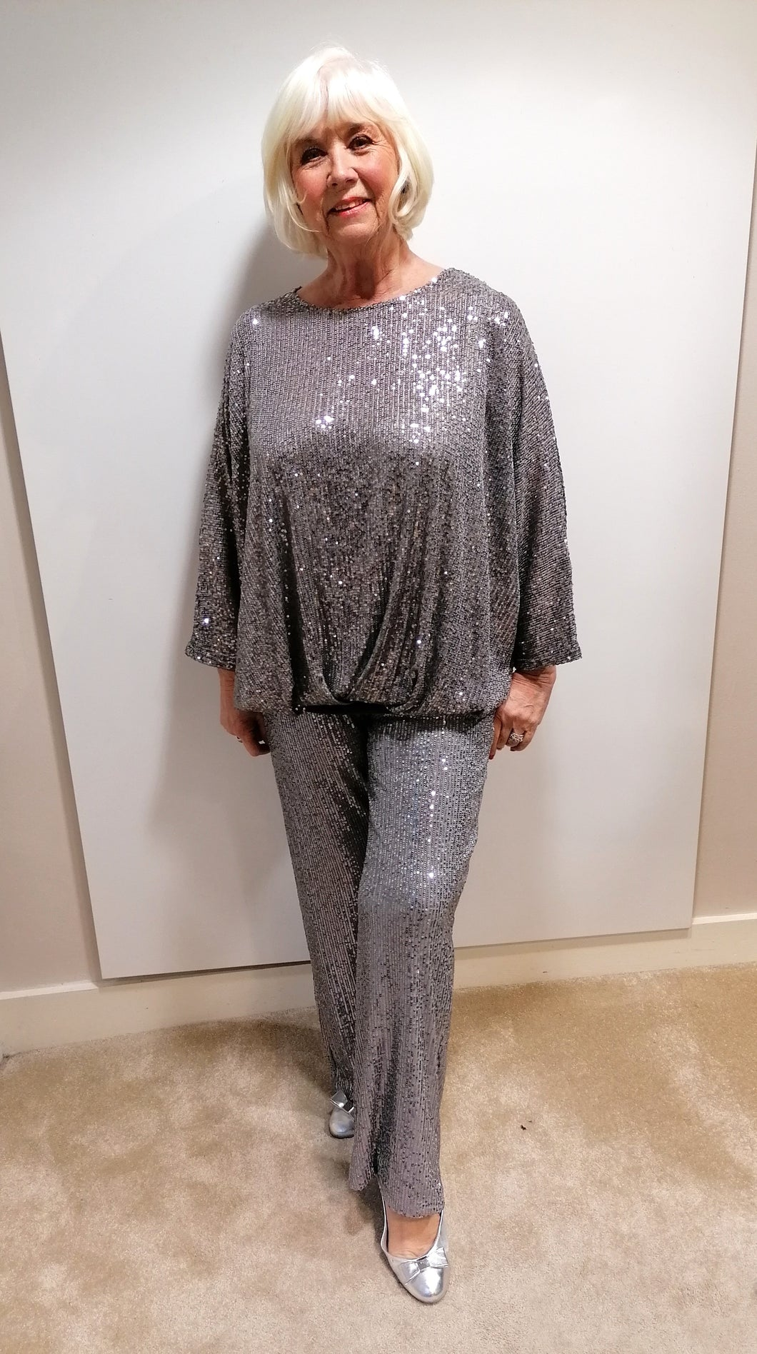 Malissa J Grey Sequin Trousers