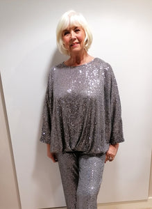 Malissa J Grey Sequin Top